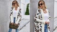 Angashion Women's Long Sleeve Leopard Print Open Front Cardigan Sweater