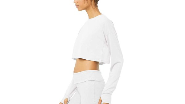 Bestisun Long Sleeve Crop Top Cropped Sweatshirt for Women
