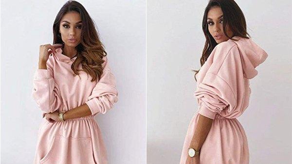 Fessceruna Women's Hoodie Dress Batwing Long Sleeve Empire Waist Ruched Pullover Sweatshirt
