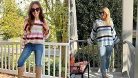 Hibluco Women's Round Neck Bell Long Sleeve Color Block Knit Sweater