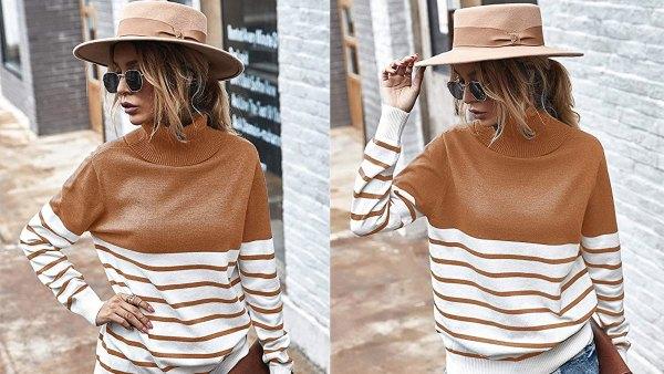 KIRUNDO 2020 Women's Turtleneck Knitted Long Sleeve Loose Ribbed Sweater