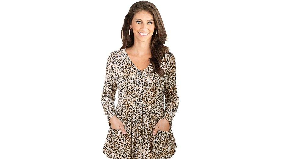 LANISEN Women's Leopard Print Babydoll Peplum Long Sleeve V-Neck Button Down Blouse