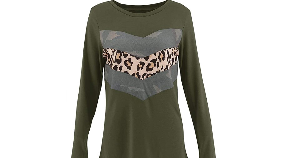 Limerose Women's Casual Leopard Print Camo Print Long Sleeve Top
