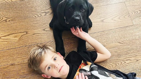 Reese Witherspoon Son Tennessee with Major the Lab Puppy and Wearing Minnie Pearl tshirt