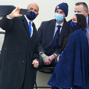Rosario Dawson and Cory Booker Wear Matching Face Masks to the Inauguration