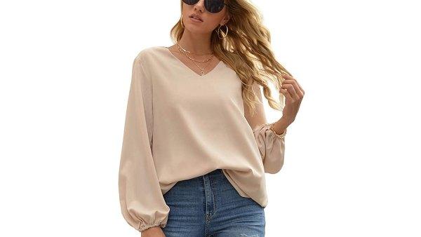 WANGZHI Women's Casual Sweet & Cute Loose Shirt Balloon Sleeve V-Neck Blouse Top