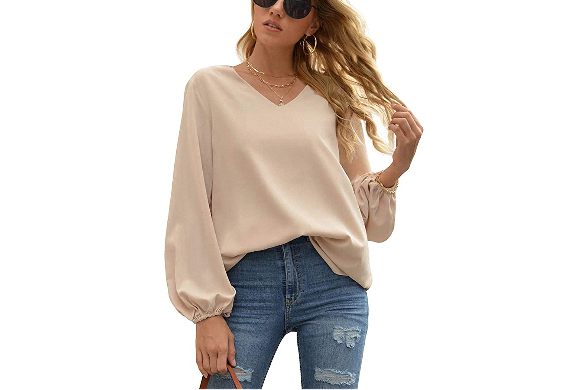 WANGZHI Women's Casual Sweet & Cute Loose Shirt Balloon Sleeve V-Neck Blouse Top