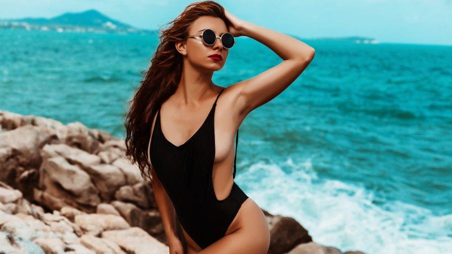 Black-Bathing-Suit-Stock-Photo