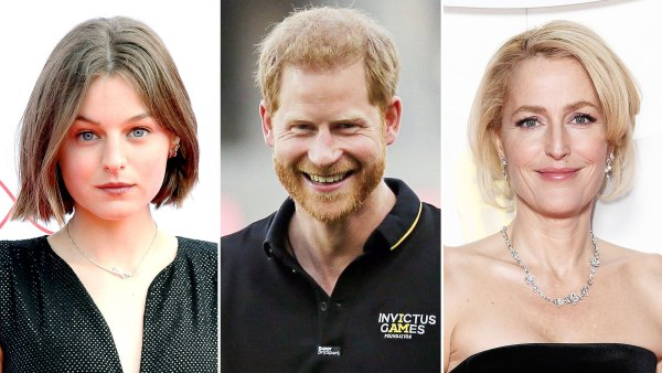 Emma Corrin Prince Harry and Gillian Anderson The Crown Stars React to Prince Harry Watching the Netflix Series