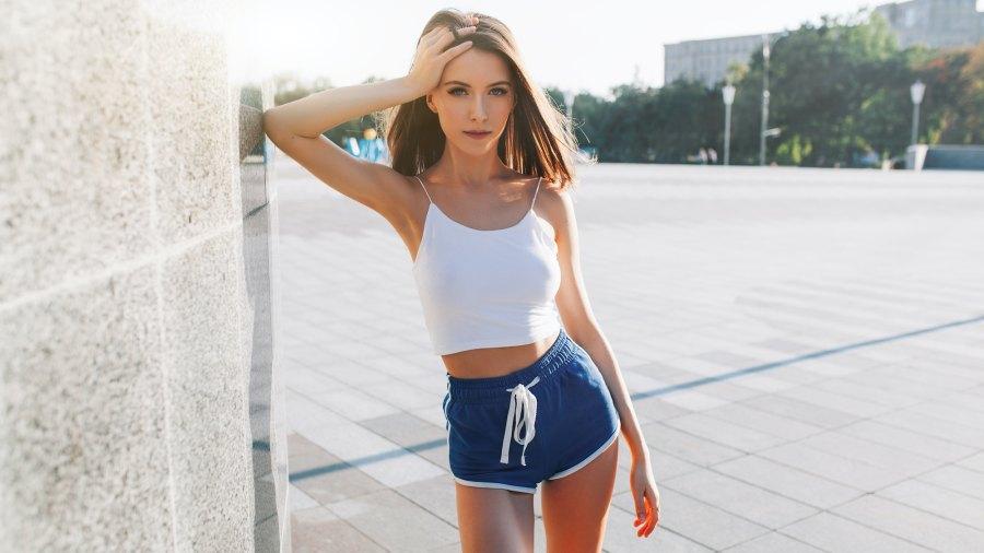 Woman-Wearing-Dolphin-Shorts-Stock-Photo