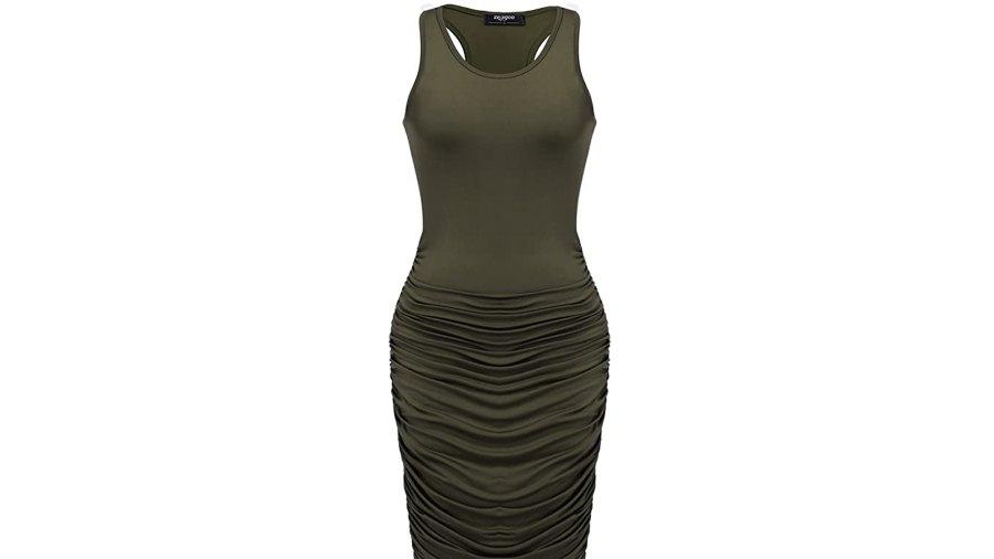 Zeagoo Midi Stretchy Sleeveless Ruched Bodycon Dress for Women