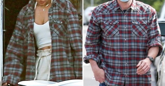 Jennifer Lopez Seemingly Wears Ben Affleck's Flannel While Traveling.jpg