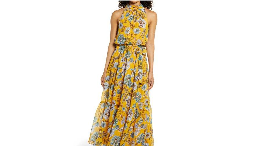Julia Jordan Floral Halter Neck Maxi Dress