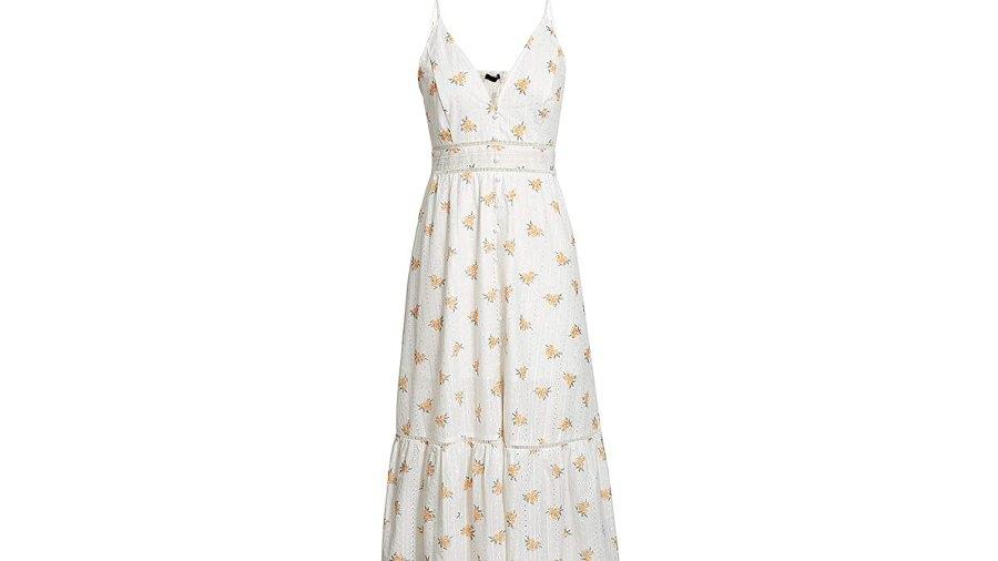 BerryGo Women's Embroidery Button Down V Neck Maxi Dress
