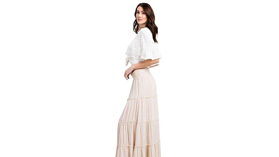 Anna-Kaci Women's Bohemian Long Elastic Waist A-Line Maxi Skirt