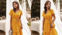 Anna-Kaci Women's Vertical Striped Short Sleeve Swing Dress