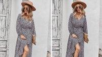 PRETTYGARDEN Women's Long Sleeve Vintage Wrap Dress