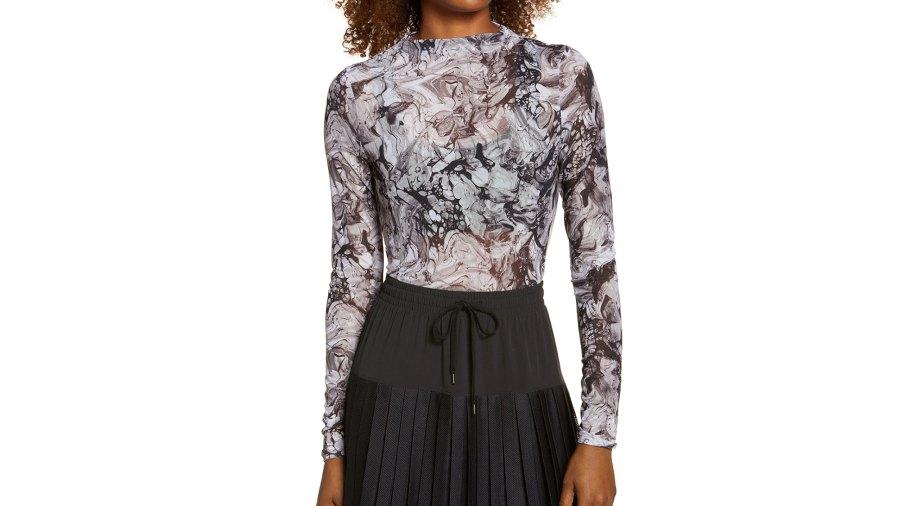 Zella Women's Sheer Luck Long Sleeve Mesh T-Shirt