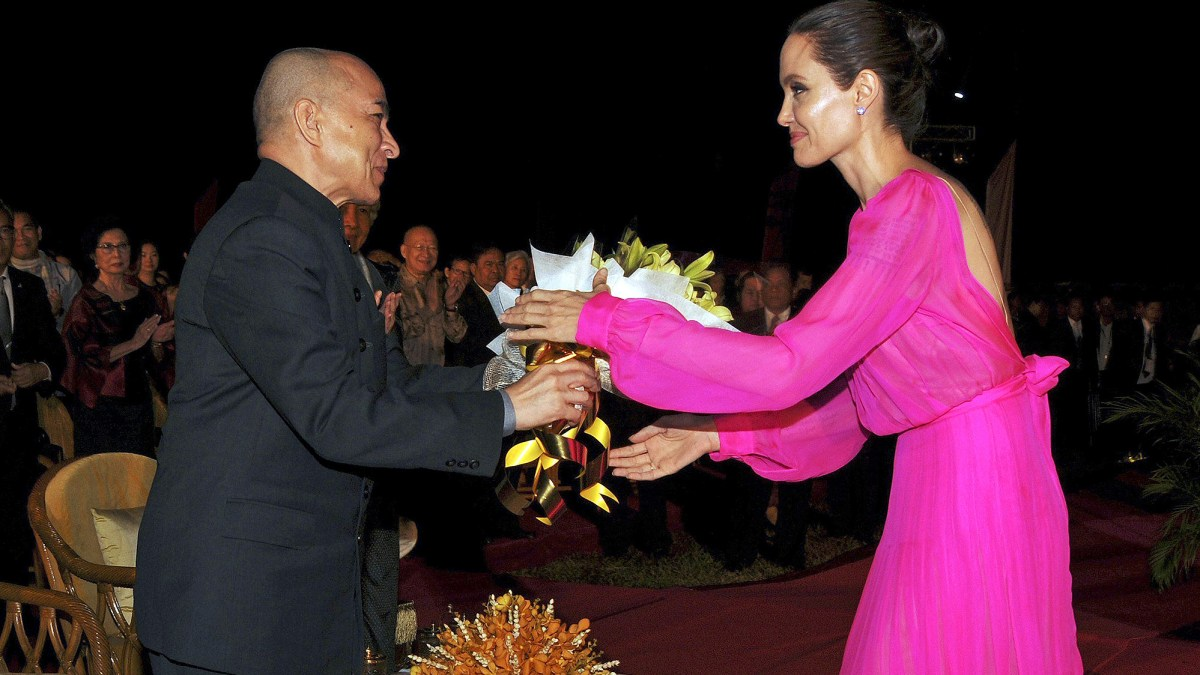 Angelina Jolie Stuns in Hot-Pink Gown in Cambodia