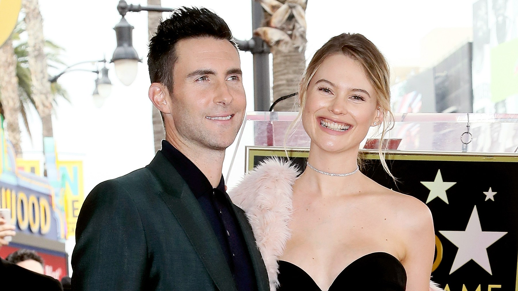 Adam Levine and Behati Prinsloo attend his being honored with a Star on the Hollywood Walk of Fame on February 10, 2017 in Hollywood, California.