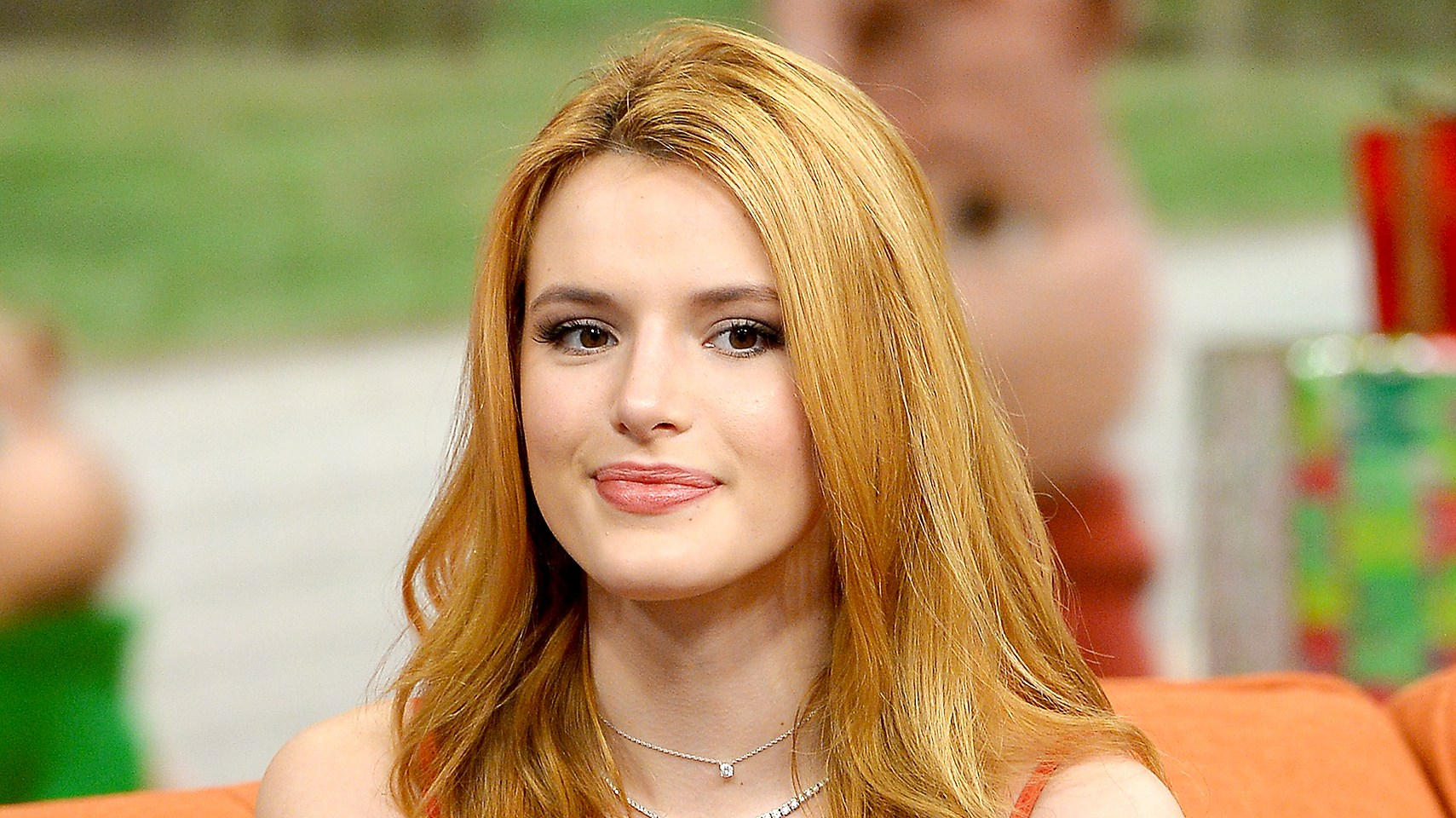 Bella Thorne on the set of Univisions Despierta America to promote Alvin and the Chipmunks: The Road Chip at Univision Studios on December 14, 2015 in Miami, Florida.