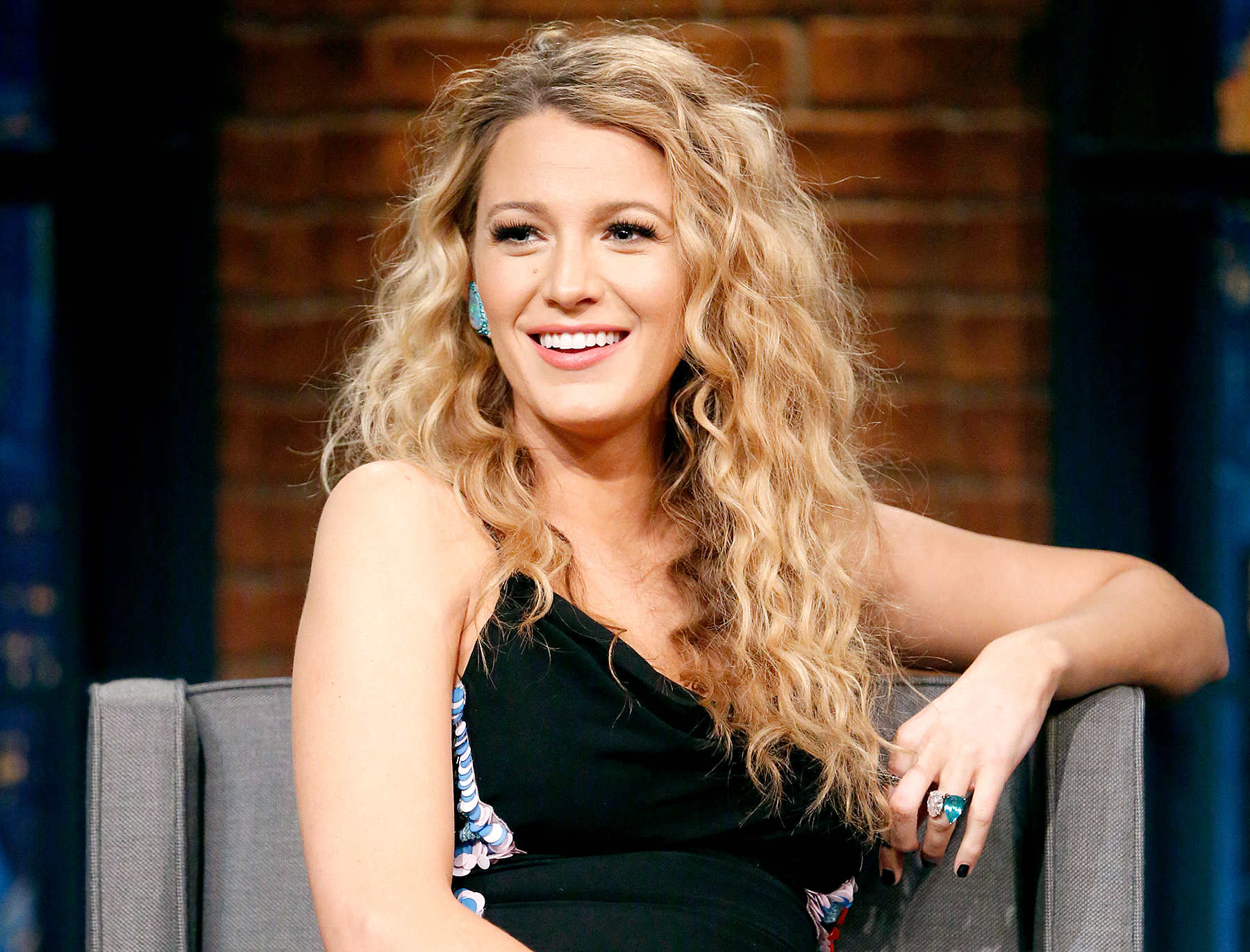 Pregnant Blake Lively Styles Hair Into 80s Era Perm Curls