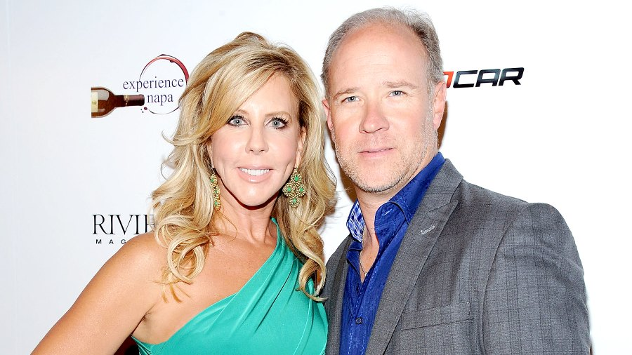 Vicki Gunvalson and Brooks Ayers arrive at the Wines By Wives Launch Party For Celebrity Wine Of The Month Club at Lexington Social House on May 8, 2012 in Hollywood, California.