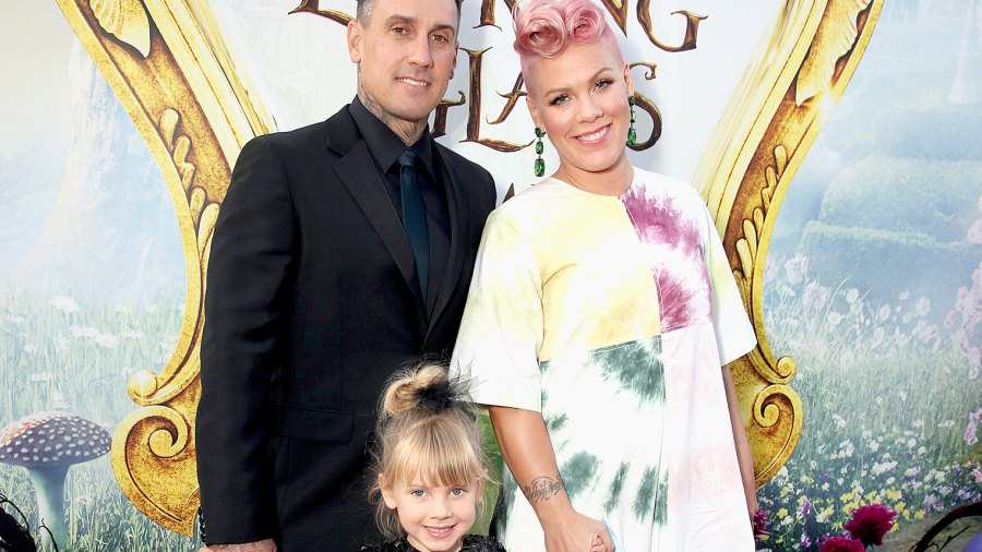 "Carey Hart, Willow Sage Hart and singer-songwriter Pink attend the premiere of Disney's ""Alice Through The Looking Glass"" at the El Capitan Theatre on May 23, 2016."
