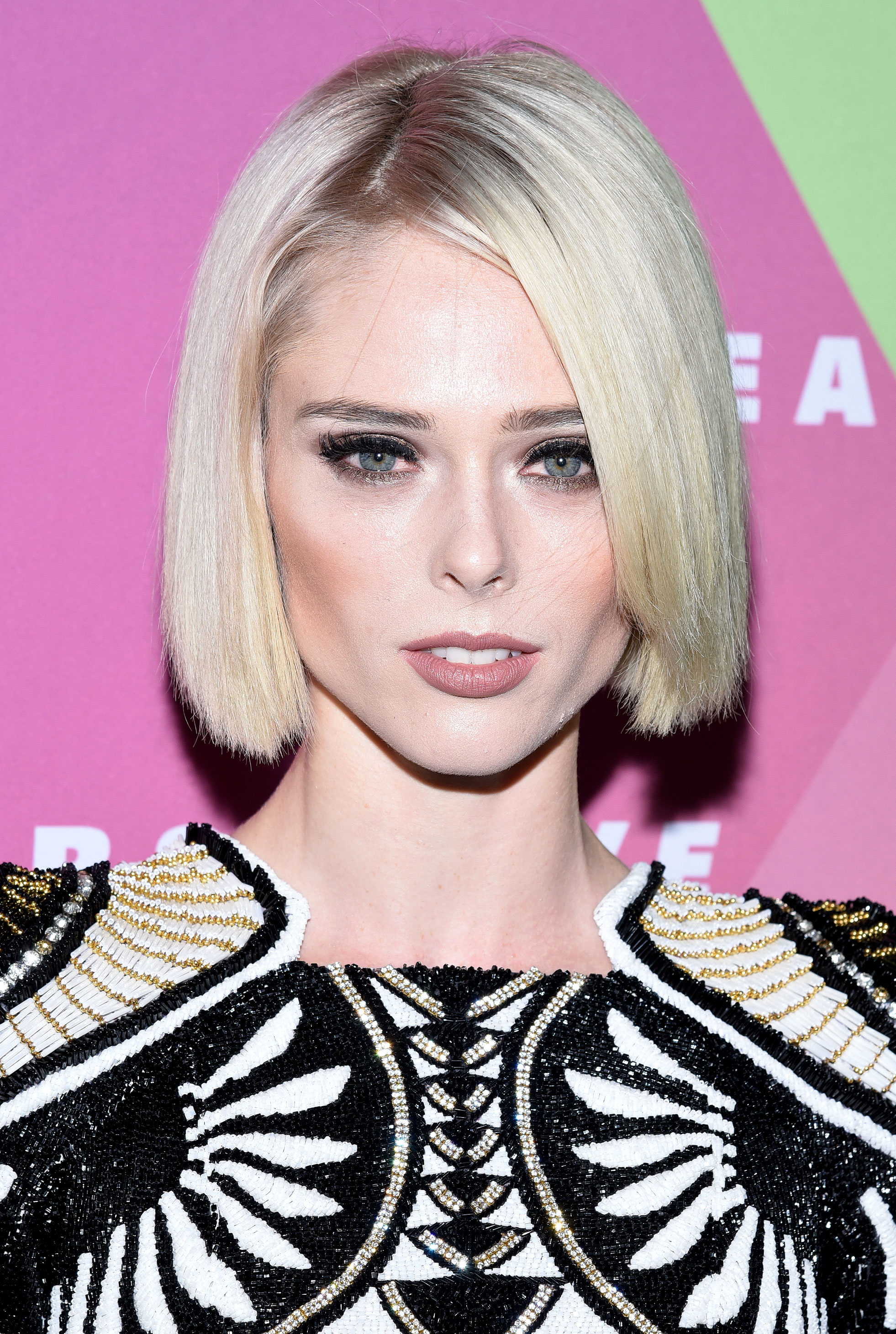 Coco Rocha Ditches Dark Brown Hair for Ice Blonde Bob Before After