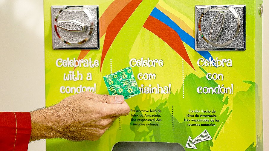 A condoms' distribution machine at the Olympic and Paralympic Village for the 2016 Rio Olympic Games displaying the Olympic Rings in Barra da Tijuca.
