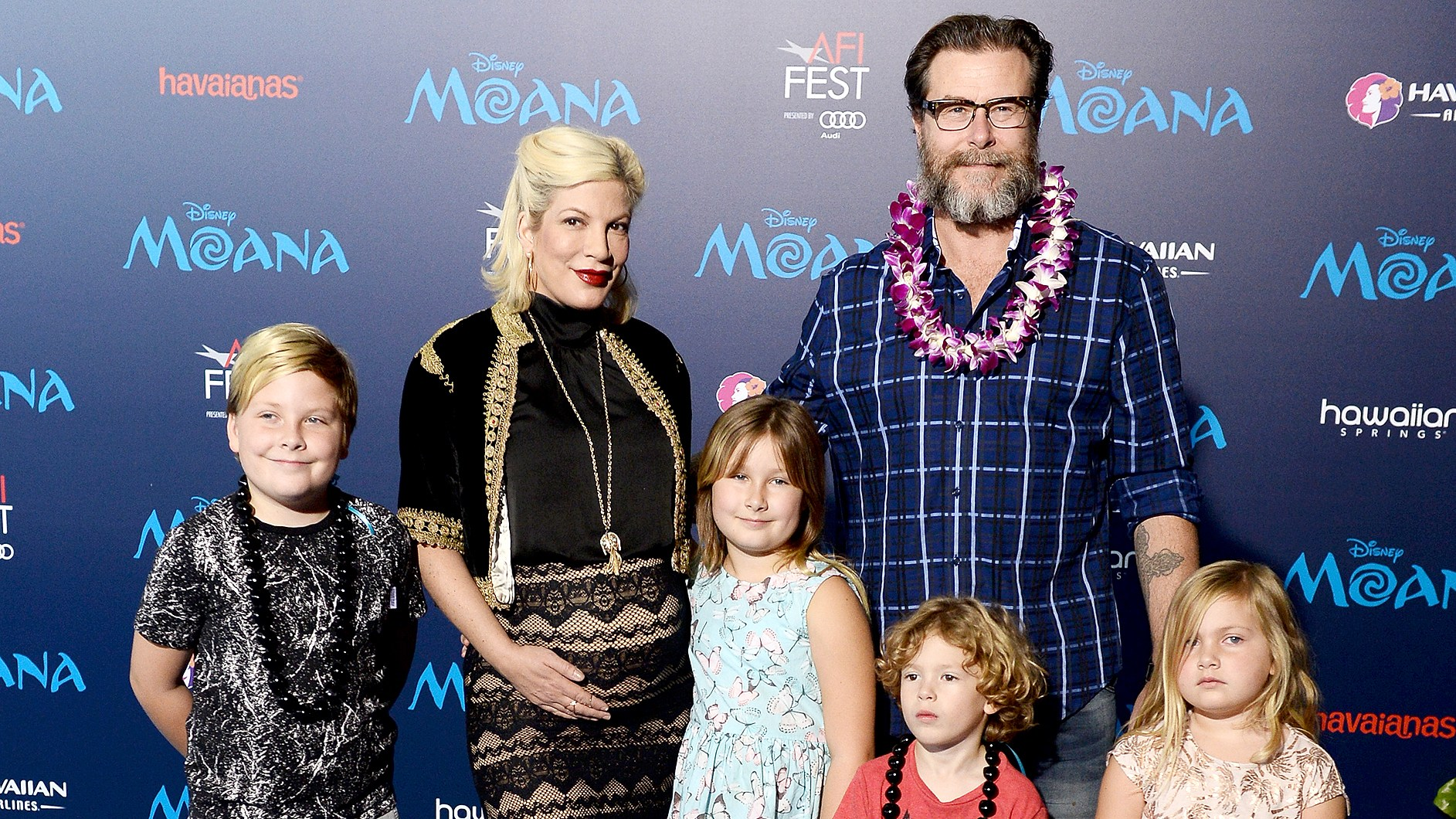 "Liam McDermott, actress Tori Spelling, Stella McDermott, actor Dean McDermott, Finn McDermott and Hattie McDermott arrive at the AFI FEST 2016 Presented By Audi premiere of Disney's ""Moana"" at the El Capitan Theatre on November 14, 2016 in Hollywood, California."