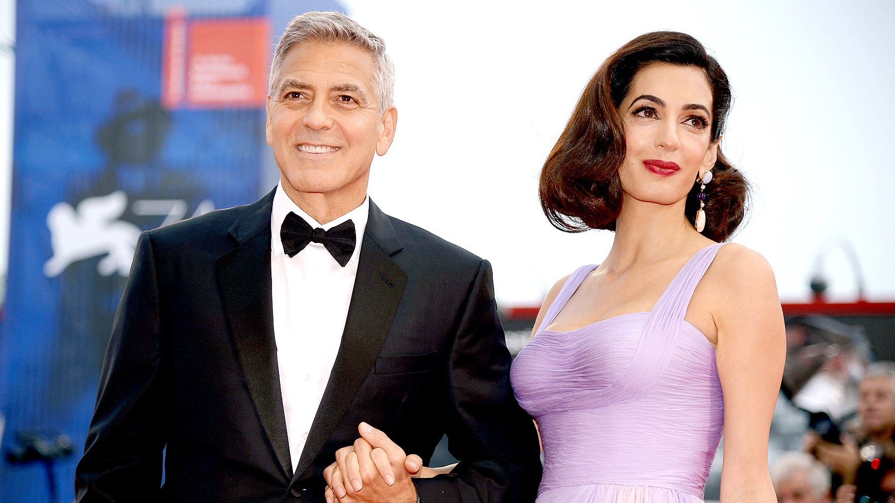"George Clooney and his wife Amal attend the premiere of the movie ""Suburbicon"" presented out of competition at the 74th Venice Film Festival on September 2, 2017 at Venice Lido."