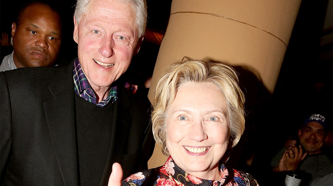 """Bill Clinton and Hillary Clinton arrive at the last performance of """"The Color Purple"""" on Broadway at The Jacobs Theater on on January 8, 2017 in New York City."""