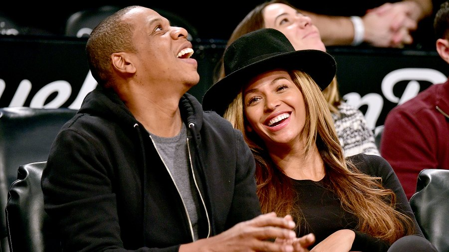 Jay-Z and Beyonce Knowles attend the Houston Rockets vs Brooklyn Nets game at Barclays Center on January 12, 2015 in New York City.