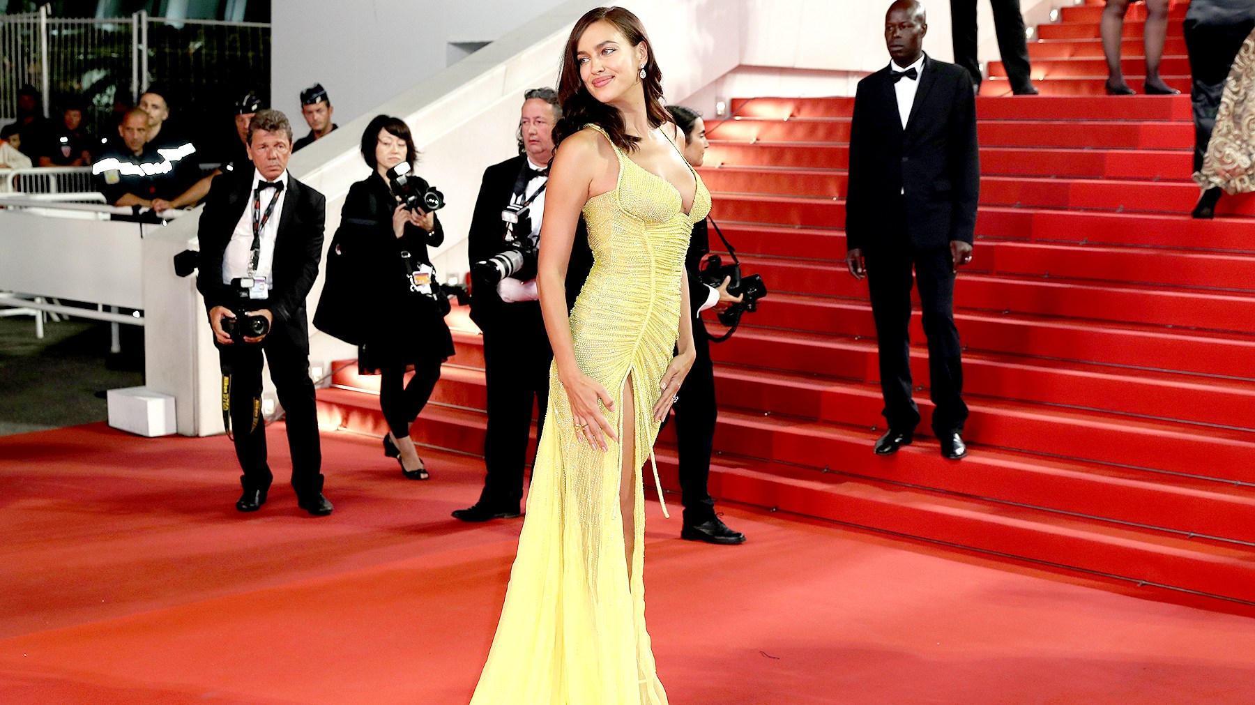 "Irina Shayk attends the ""Hikari (Radiance)"" screening during the 70th annual Cannes Film Festival at Palais des Festivals on May 23, 2017 in Cannes, France."