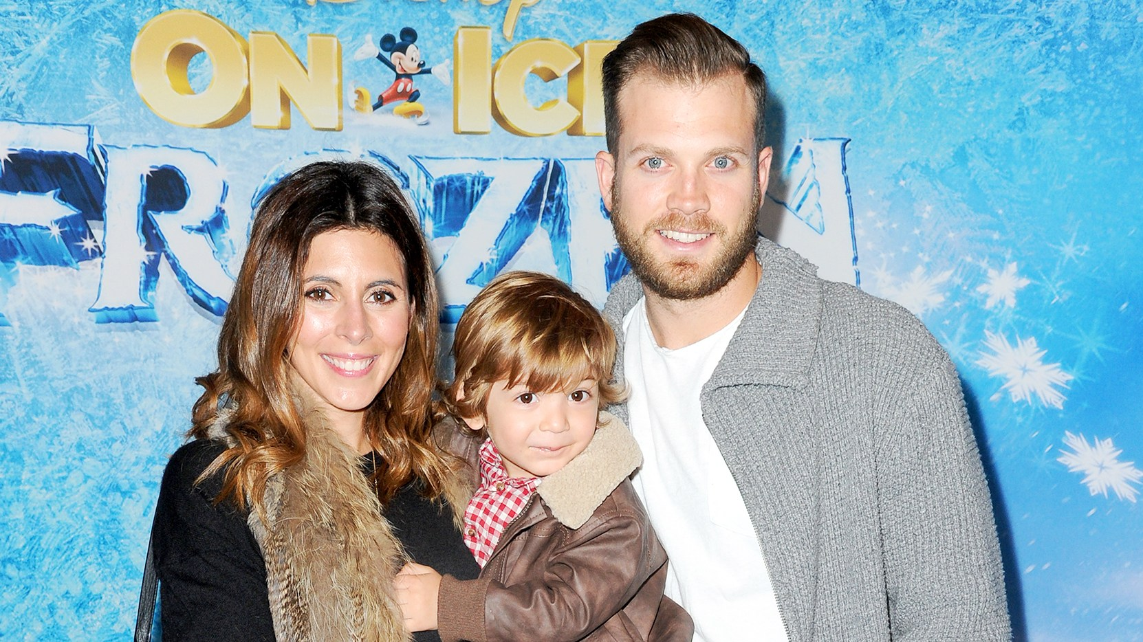 Jamie-Lynn Sigler and Cutter Dykstra with son Beau attend Frozen celebrity premiere presented by Disney On Ice held at the Staples Center on Thursday, Dec.10, 2015, in Los Angeles.