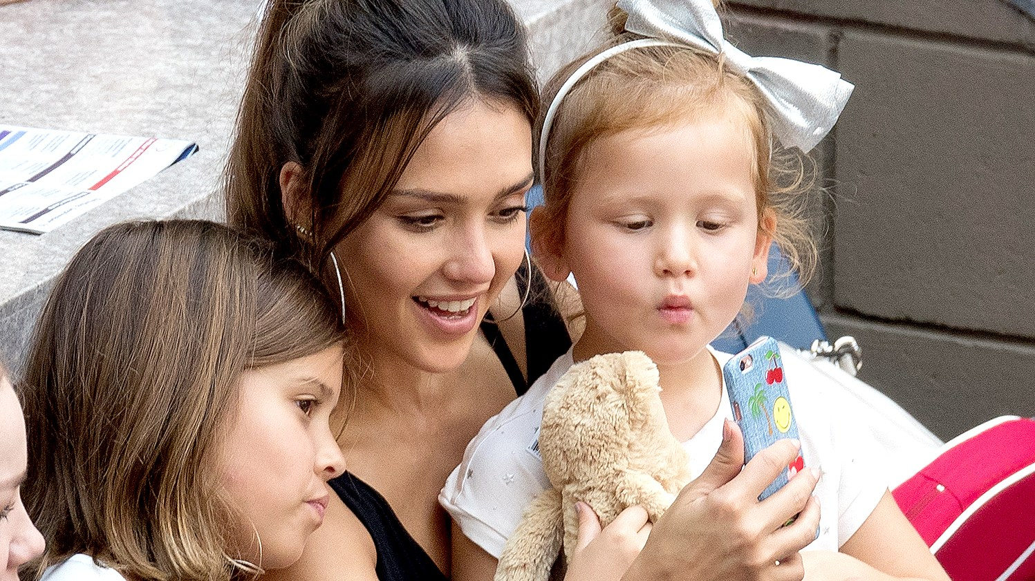 Jessica Alba with daughters Honor and Haven seen at USTA Billie Jean King National Tennis Center on September 10, 2016 in the Queens borough of New York City.