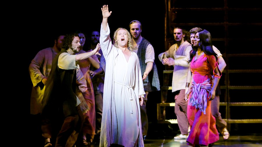 Group performance with main actor Glenn Carter (Center) and Rachel Adedeji during a rehearsal for the Jesus Christ Superstar Musical Press Call at Deutsche Oper Berlin on July 28, 2015 in Berlin, Germany.