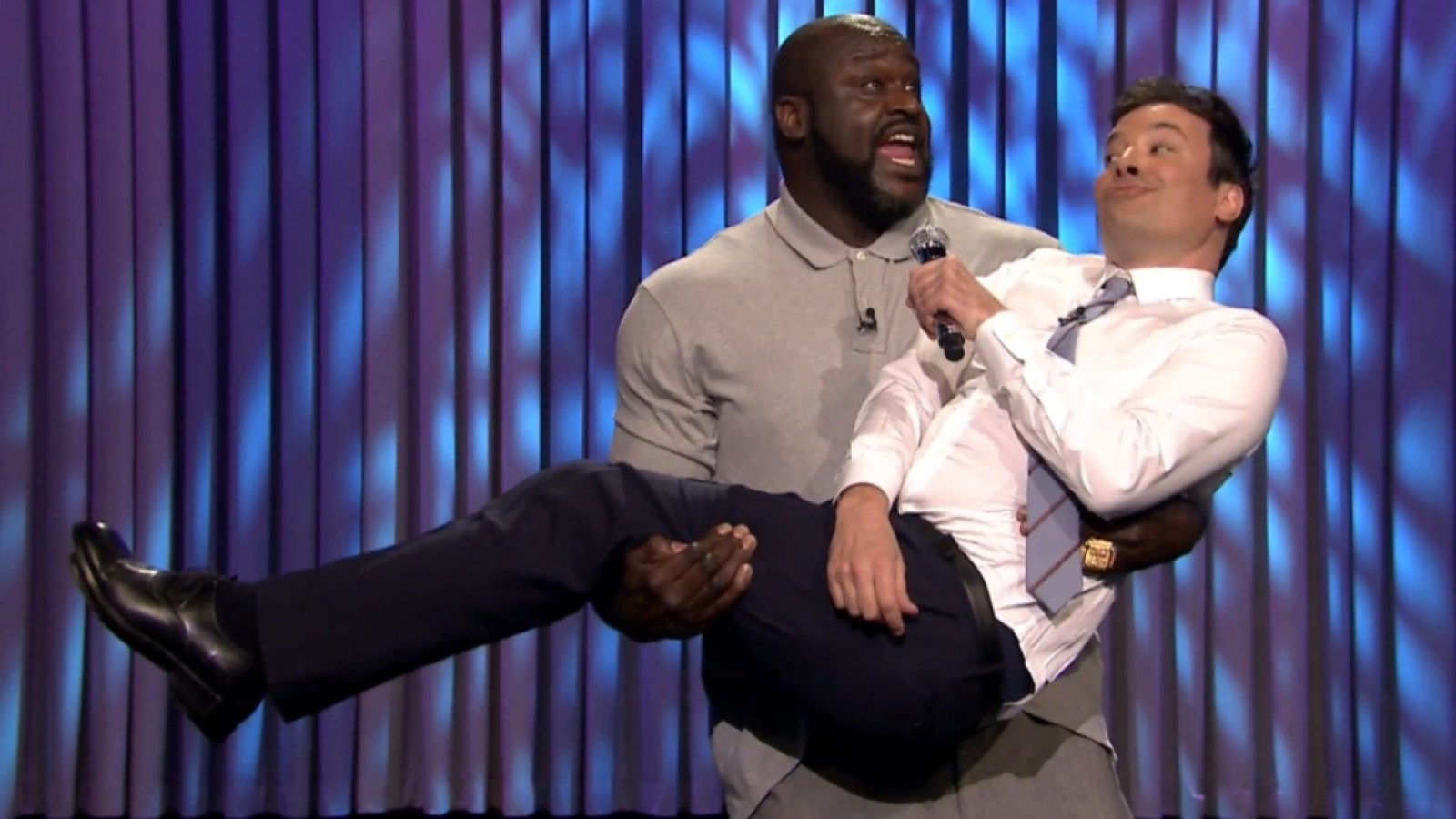 Shaquille O'Neal Kisses, Spanks Jimmy Fallon in Lip Sync Battle