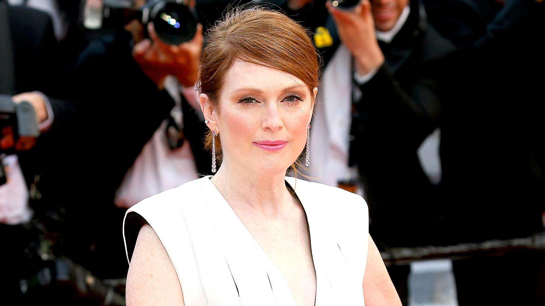 """Julianne Moore attends the screening of """"Money Monster"""" at the annual 69th Cannes Film Festival at Palais des Festivals on May 12, 2016 in Cannes, France."""