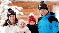 Catherine, Duchess of Cambridge and Prince William, Duke of Cambridge, with their children, Princess Charlotte and Prince George, enjoy a short private skiing break on March 3, 2016 in the French Alps