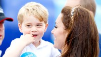 Prince George of Cambridge and Catherine, Duchess of Cambridge visit the Royal International Air Tattoo at RAF Fairford on July 8, 2016 in Fairford, England.