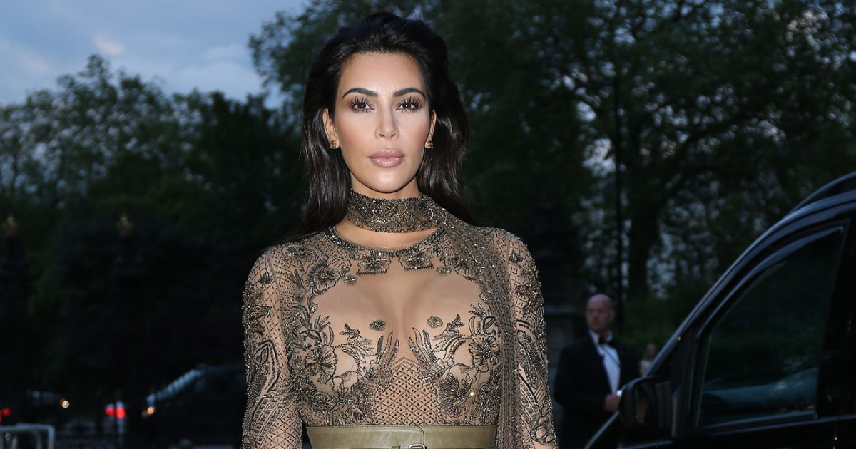 Kim Kardashian Wears Revealing Roberto Cavalli Dress At