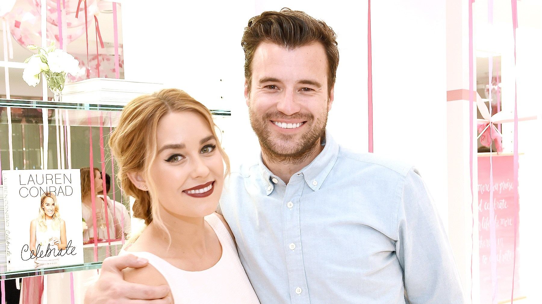 """Lauren Conrad and William Tell attend the """"Lauren Conrad Celebrate"""" book launch party at Kohl's Showroom on March 23, 2016 in New York City."""