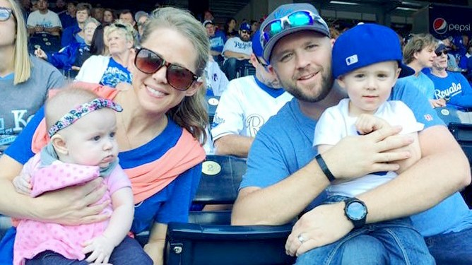 Lindsay and Camden Norris with children Evilyn and Harrison.