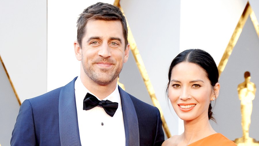 Olivia Munn and Aaron Rodgers attend the 88th Annual Academy Awards at Hollywood & Highland Center in Hollywood on February 28, 2016.
