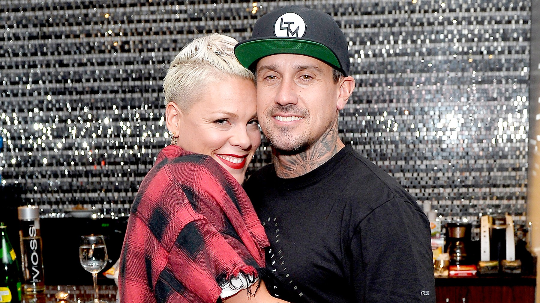 Pink and Carey Hart attend a surprise event in support of Carey Hart's Good Ride Rally benefiting Infinite Hero Foundation at The D Bar, at the D Las Vegas on October 5, 2017 in Las Vegas, Nevada.