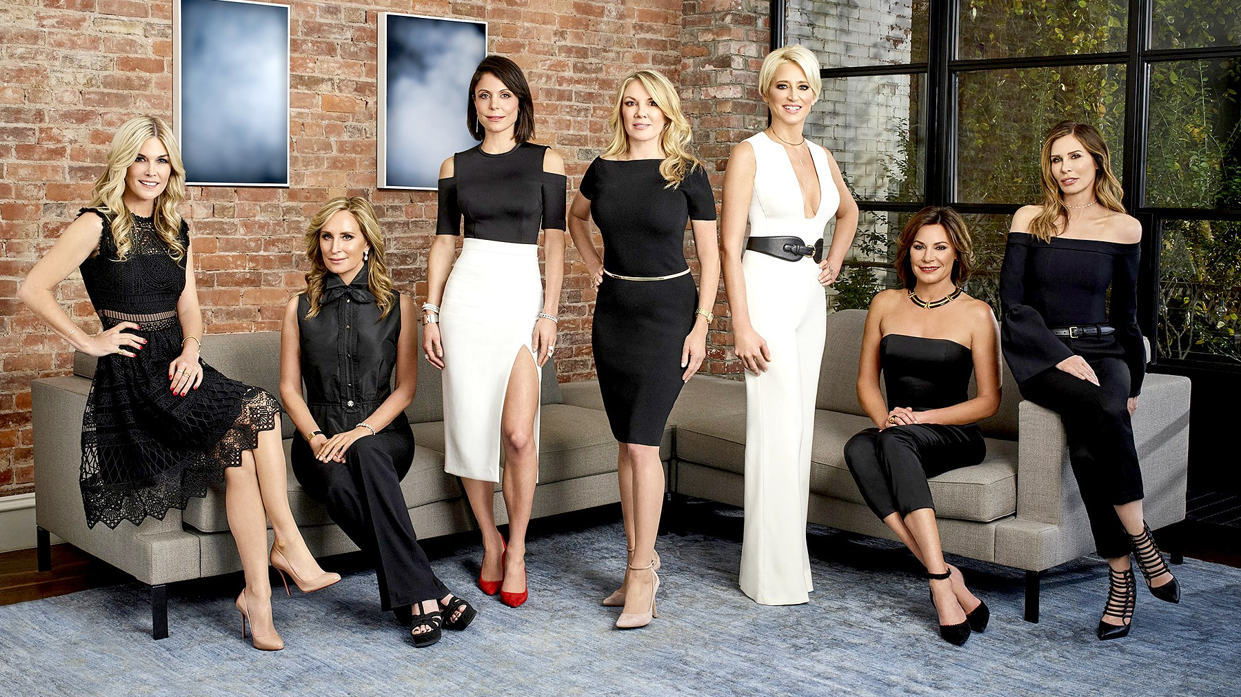 Tinsley Mortimer, Sonja Morgan, Bethenny Frankel, Ramona Singer, Dorinda Medley, Luann D'Agostino, and Carole Radziwill on The Real Housewives of New York.
