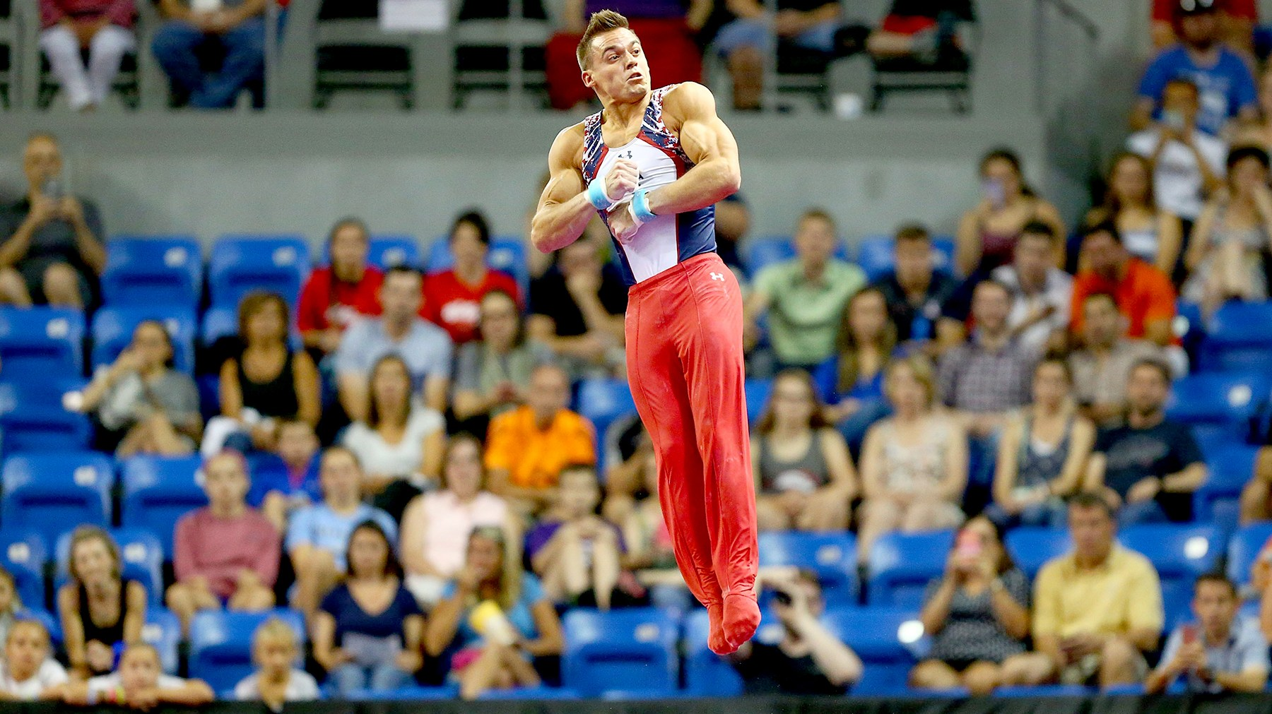 Sam Mikulak competes on the high bar during day two of the 2016 Men's Gymnastics Olympic Trials at Chafitz Arena on June 25, 2016 in St. Louis, Missouri.