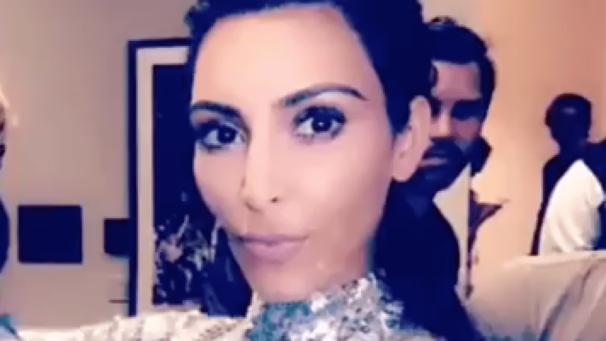 Kim K., North West Twinned in Sequined Dresses at Kanye Concert